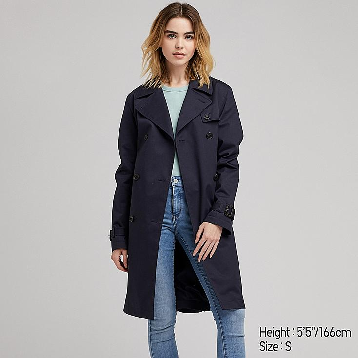 WOMEN TRENCH COAT, NAVY, large