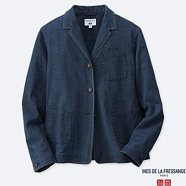 WOMEN COTTON SHIRT JACKET (INES DE LA FRESSANGE), NAVY, medium