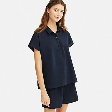 WOMEN SOFT STRETCH SHORT-SLEEVE PAJAMAS, NAVY, medium