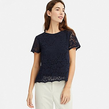 WOMEN LACE SHORT-SLEEVE T-SHIRT, NAVY, medium