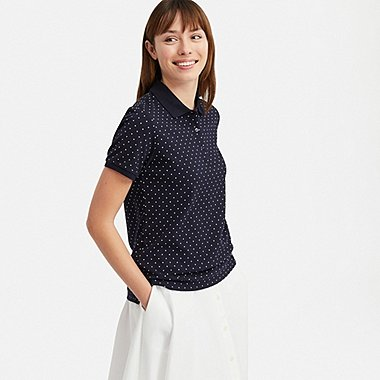 WOMEN STRETCH PIQUE DOTTED SHORT SLEEVED POLO SHIRT