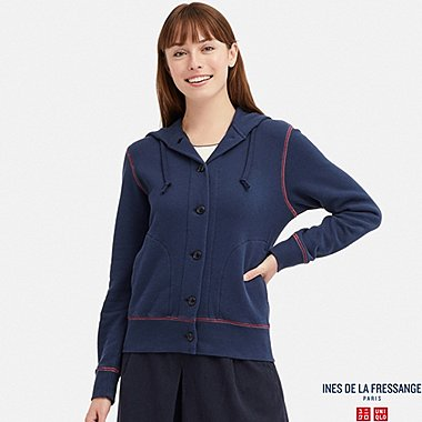 WOMEN FRENCH TERRY LONG-SLEEVE HOODED JACKET (INES DE LA FRESSANGE), NAVY, medium
