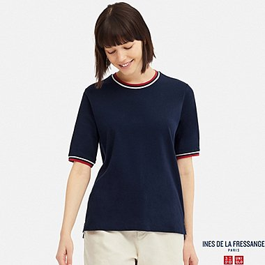 WOMEN INES COTTON LINEN BLEND CREW NECK T-SHIRT