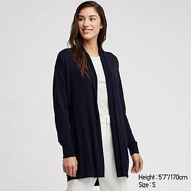 WOMEN UV CUT STOLE LONG-SLEEVE LONG CARDIGAN, NAVY, medium