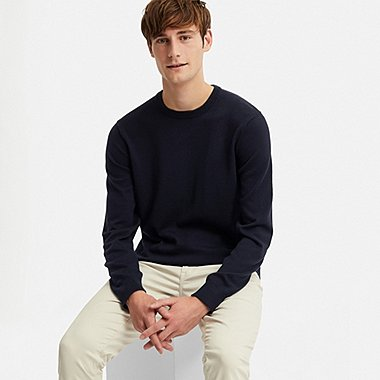 MEN SUPIMA® COTTON CREW NECK LONG-SLEEVE SWEATER, NAVY, medium