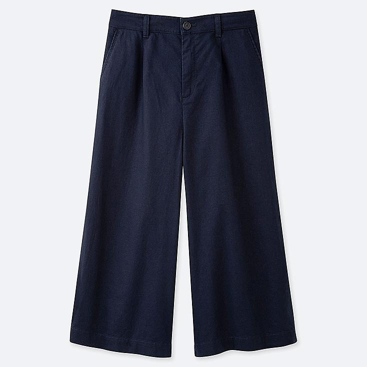 WOMEN LINEN COTTON WIDE CROPPED PANTS, NAVY, large