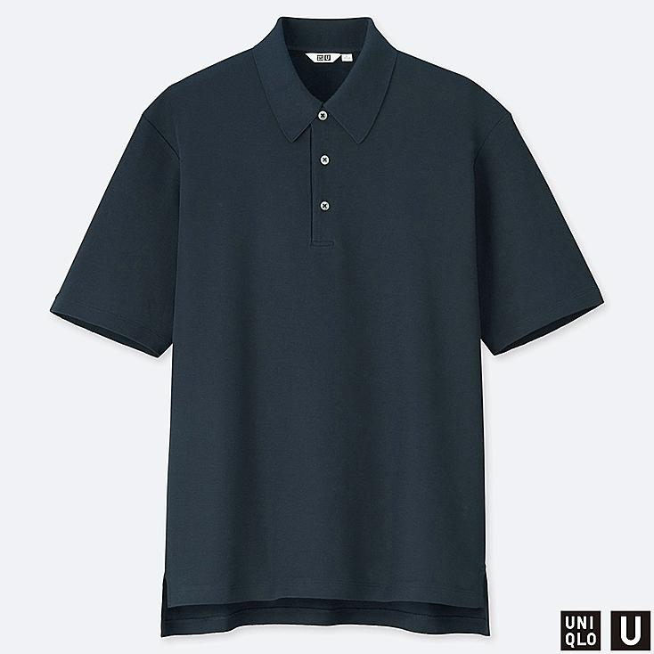 MEN U SUPIMA® COTTON SHORT-SLEEVE POLO SHIRT, NAVY, large