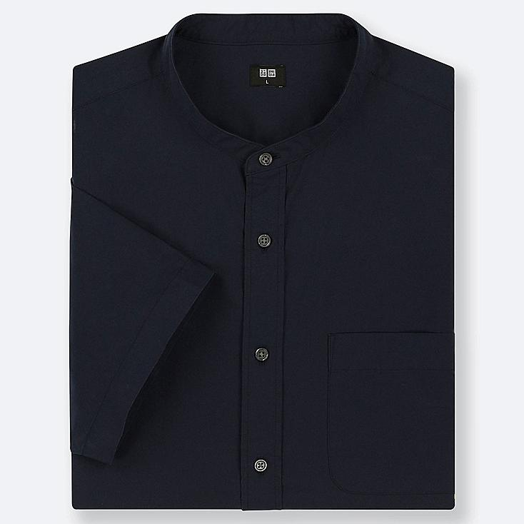 MEN EXTRA FINE COTTON STAND COLLAR SHORT-SLEEVE SHIRT (ONLINE EXCLUSIVE), NAVY, large
