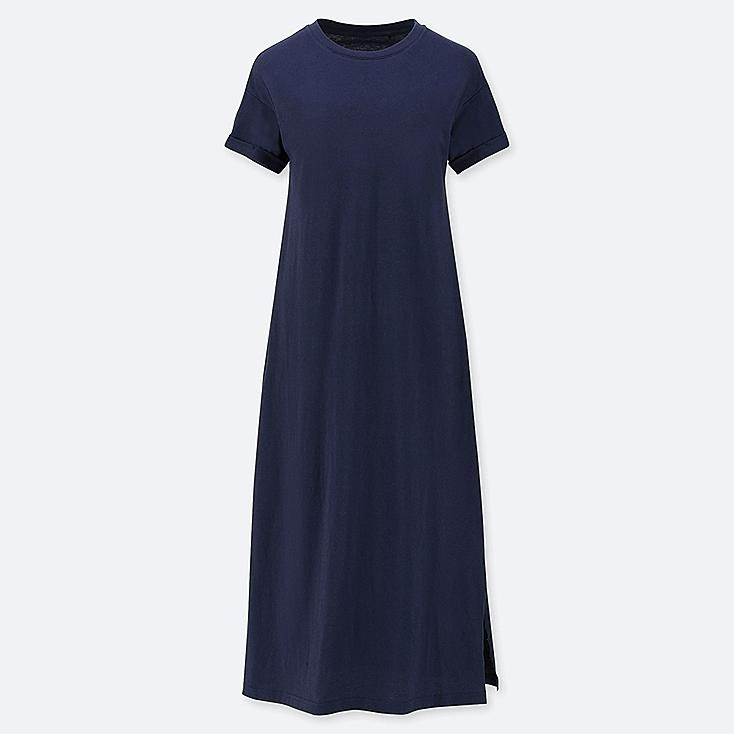 WOMEN SHORT-SLEEVE RELAX DRESS (WITH PADDING), NAVY, large