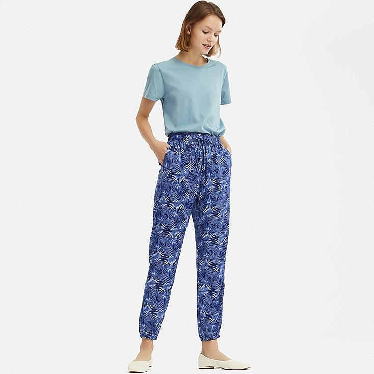 WOMEN DRAPE JOGGER PANTS, NAVY, large
