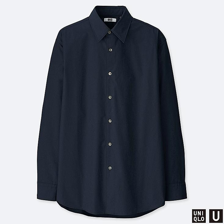 MEN U EXTRA FINE COTTON BROADCLOTH LONG-SLEEVE SHIRT, NAVY, large