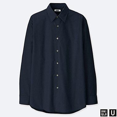 MEN U EXTRA FINE COTTON BROADCLOTH LONG-SLEEVE SHIRT, NAVY, medium