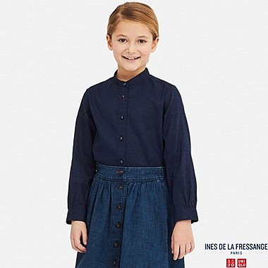 GIRLS LINEN COTTON LONG-SLEEVE TUNIC (INES DE LA FRESSANGE), NAVY, medium