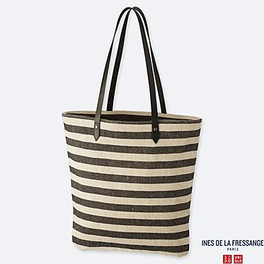 WOMEN JUTE TOTE BAG (INES DE LA FRESSANGE), NAVY, medium