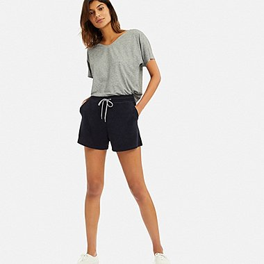 WOMEN AIRism PILE SHORTS, NAVY, medium