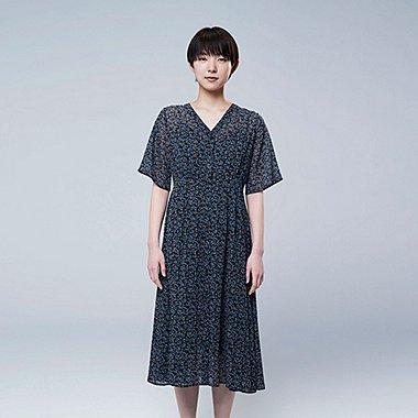 WOMEN STUDIO SANDERSON FOR UNIQLO CHIFFON PRINTED SHORT-SLEEVE DRESS (ONLINE EXCLUSIVE), NAVY, medium