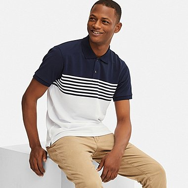 MEN DRY-EX PIQUE STRIPED POLO SHIRT, NAVY, medium
