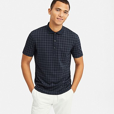 MEN AIRISM CHECKED SHORT SLEEVED POLO SHIRT