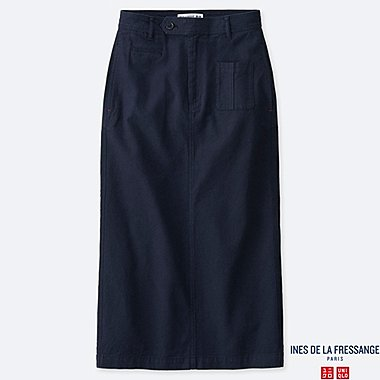 WOMEN LINEN COTTON STRAIGHT SKIRT (INES DE LA FRESSANGE), NAVY, medium