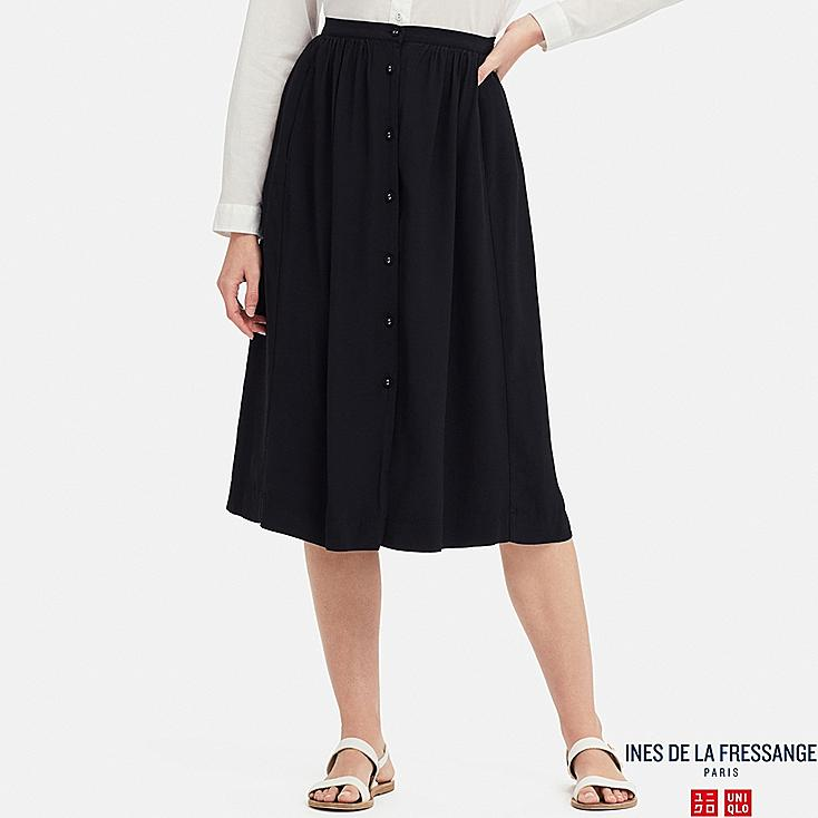 WOMEN GEORGETTE SKIRT (INES DE LA FRESSANGE), NAVY, large