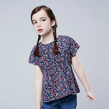 GIRLS STUDIO SANDERSON FOR UNIQLO SHORT-SLEEVE BLOUSE, NAVY, medium