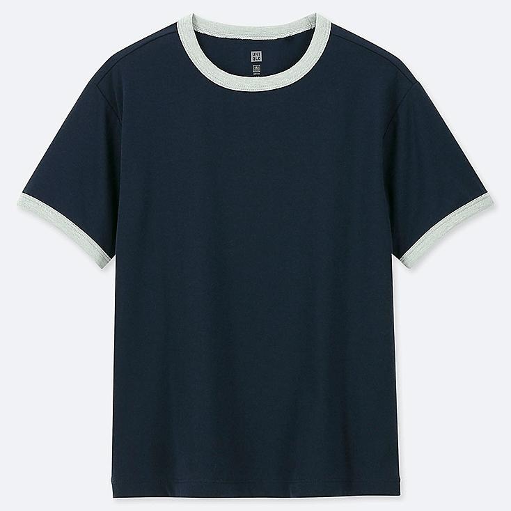 KIDS DRY-EX CREW NECK SHORT-SLEEVE T-SHIRT, NAVY, large