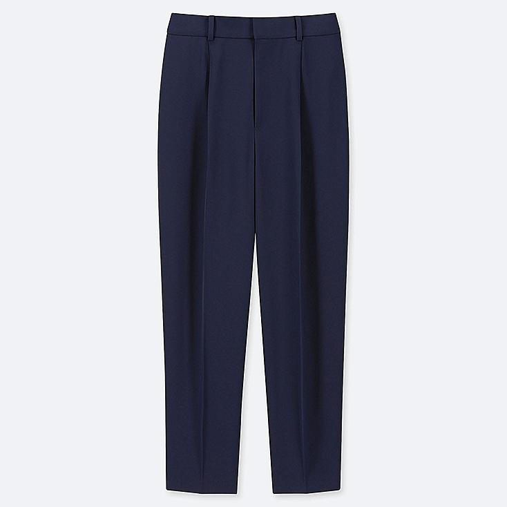 WOMEN DRAPE TAPERED ANKLE-LENGTH PANTS, NAVY, large