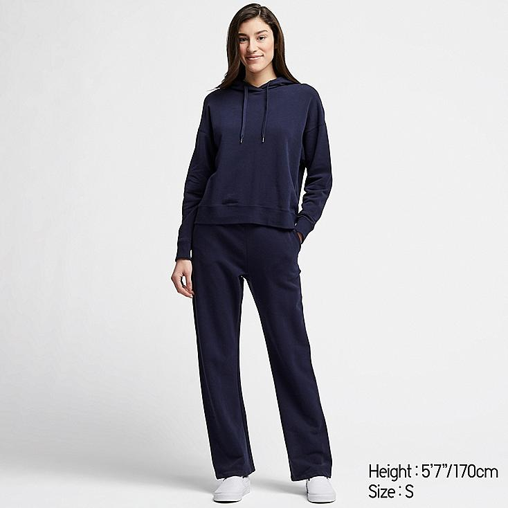 WOMEN ULTRA STRETCH HOODIE SET LONG-SLEEVE, NAVY, large