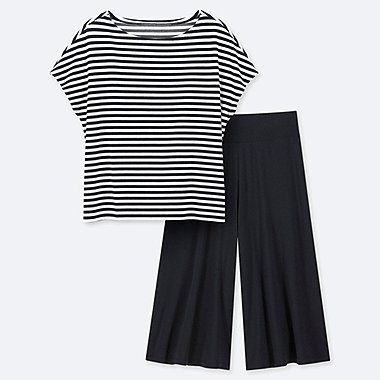 WOMEN AIRISM STRIPED SHORT SLEEVED SET