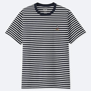 MICKEY STANDS STRIPED SHORT-SLEEVE T-SHIRT, NAVY, medium
