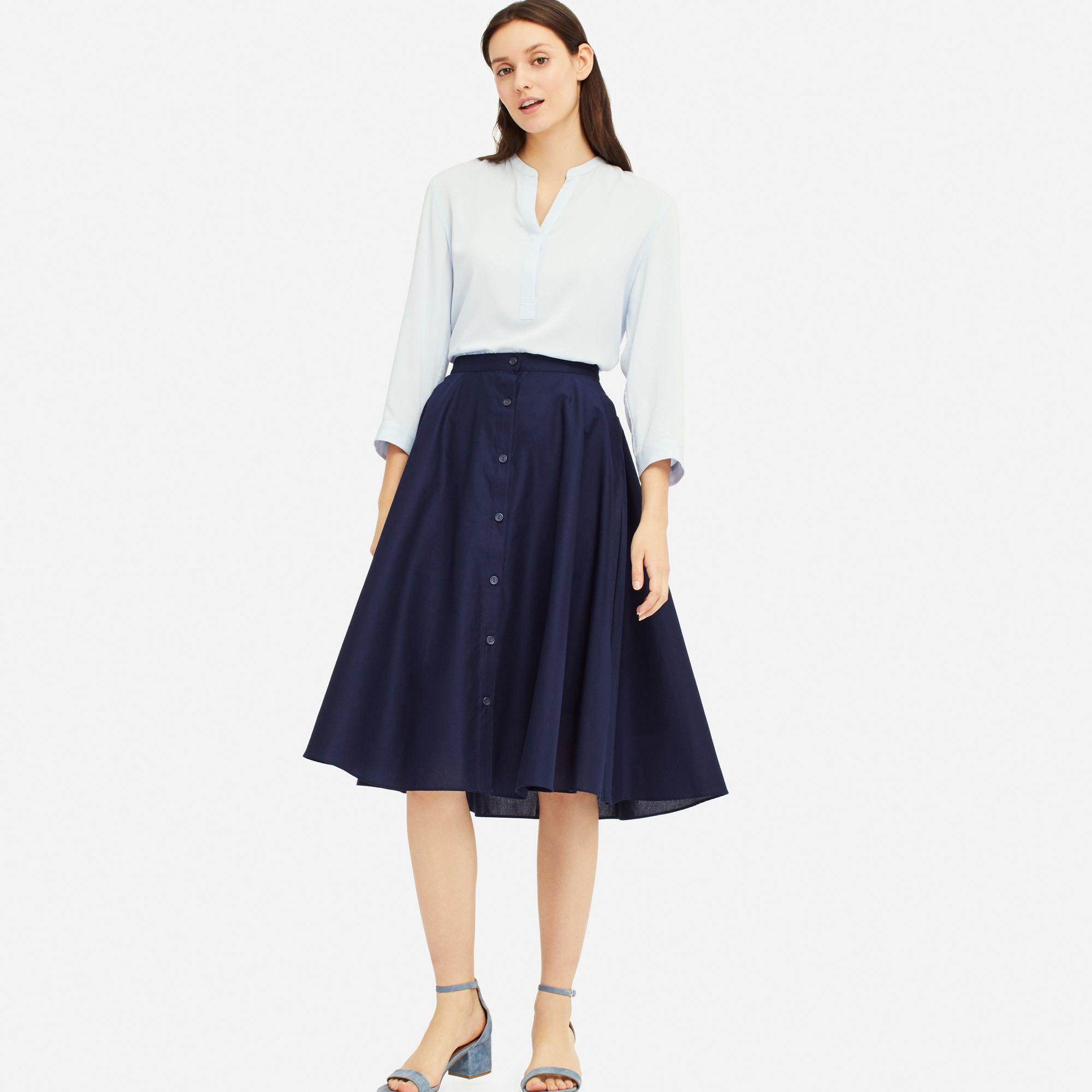 Front Button Circular Skirt by Uniqlo
