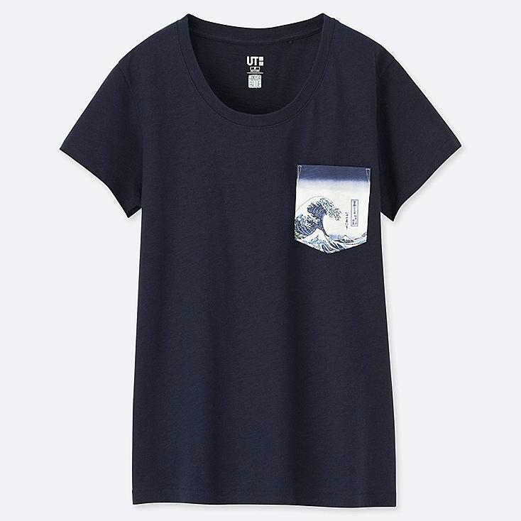 WOMEN HOKUSAI BLUE SHORT-SLEEVE GRAPHIC T-SHIRT, NAVY, large