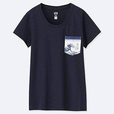 DAMEN UT T-SHIRT HOKUSAI BLUE
