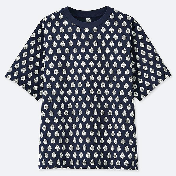 WOMEN PROVENCE PRINTED SHORT-SLEEVE GRAPHIC T-SHIRT, NAVY, large