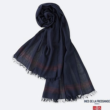 WOMEN COTTON SILK STOLE (INES DE LA FRESSANGE), NAVY, medium