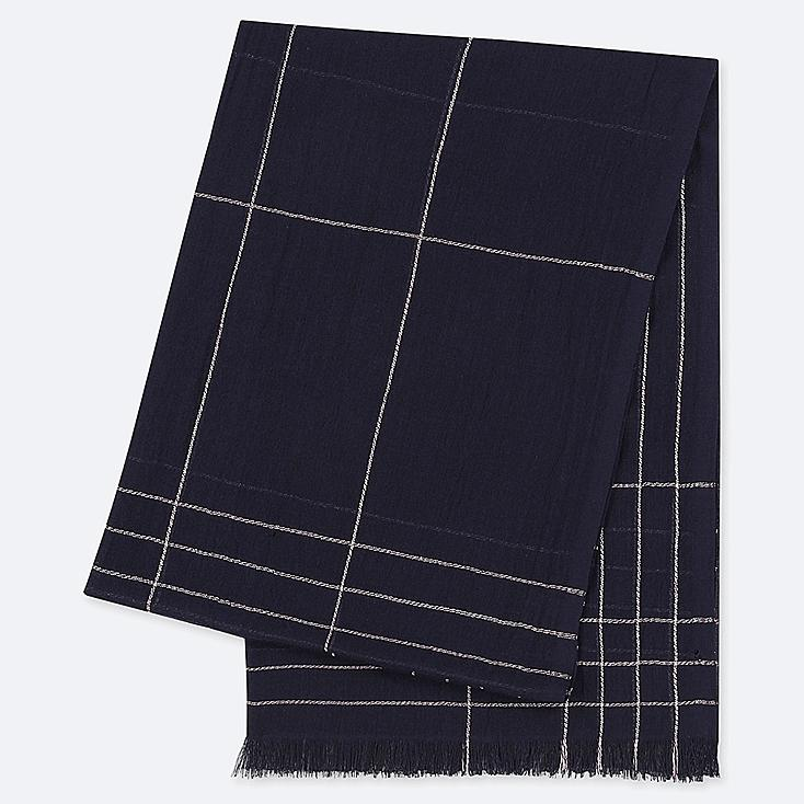 COTTON CHECKED LINEN STOLE, NAVY, large