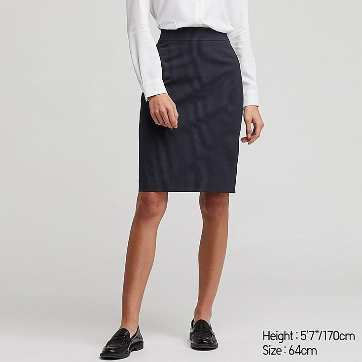 WOMEN STRETCH SKIRT (ONLINE EXCLUSIVE), NAVY, large