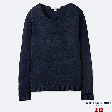 WOMEN TAPE YARN CREW NECK SWEATER (INES DE LA FRESSANGE), NAVY, medium