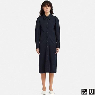 WOMEN U SHIRT LONG-SLEEVE DRESS, NAVY, medium