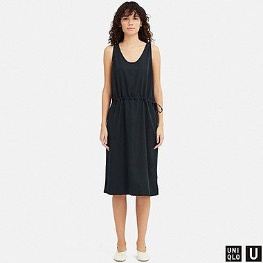 WOMEN U DRAWSTRING SLEEVELESS DRESS, NAVY, medium