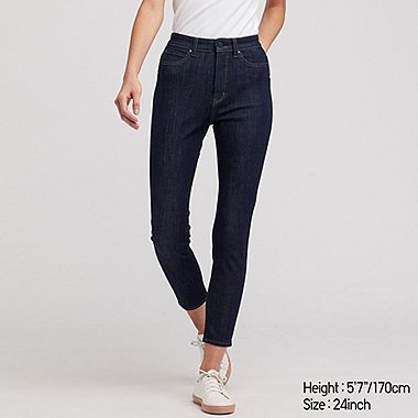 WOMEN HIGH-RISE ULTRA STRETCH ANKLE JEANS, NAVY, medium