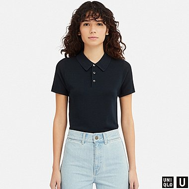 WOMEN UNIQLO U KNIT SHORT SLEEVED POLO SHIRT