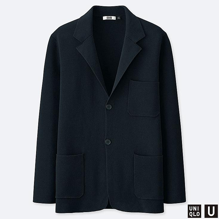 MEN U MILANO RIBBED JACKET, NAVY, large