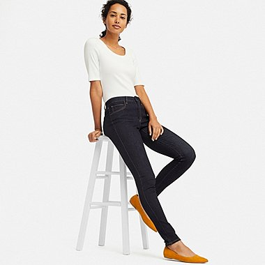 WOMEN ULTRA STRETCH CURVY FIT JEANS, NAVY, medium