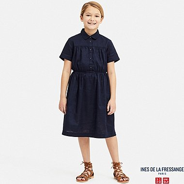 GIRLS LINEN COTTON TUCK SHORT-SLEEVE DRESS (INES DE LA FRESSANGE), NAVY, medium