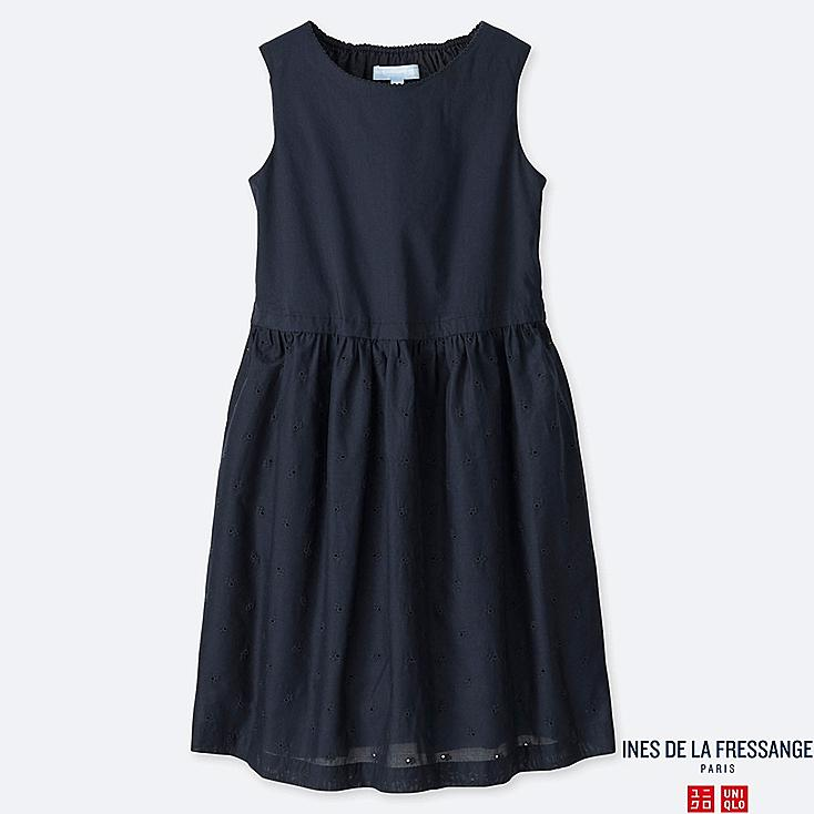 GIRLS EMBROIDERY SLEEVELESS DRESS (INES DE LA FRESSANGE), NAVY, large
