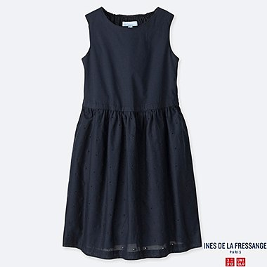 GIRLS EMBROIDERY SLEEVELESS DRESS (INES DE LA FRESSANGE), NAVY, medium
