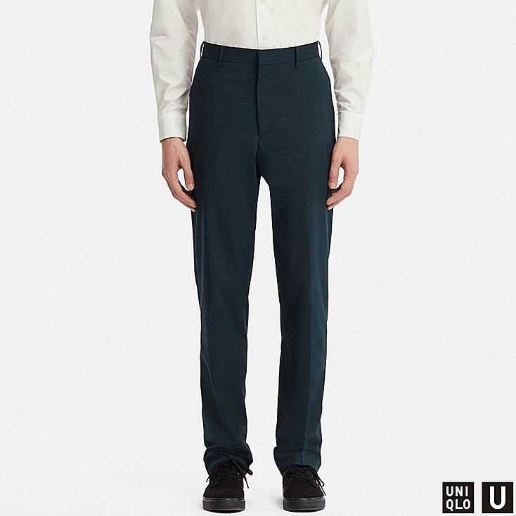 MEN U WIDE-FIT PANTS (SEERSUCKER), NAVY, large