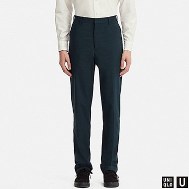 MEN U WIDE-FIT PANTS (SEERSUCKER), NAVY, medium