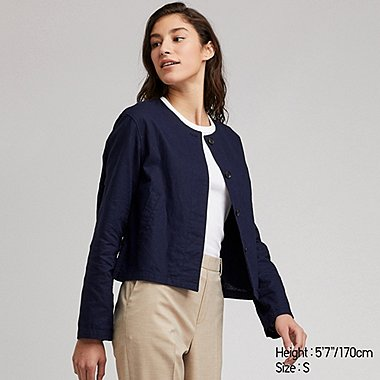 WOMEN LINEN BLENDED COLLARLESS JACKET (ONLINE EXCLUSIVE), NAVY, medium